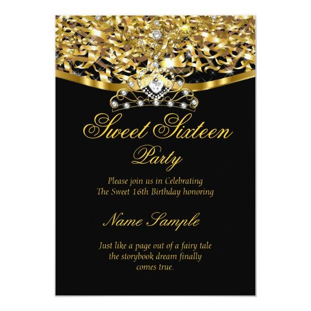 Sweet 16 Party Glitter Gold Black