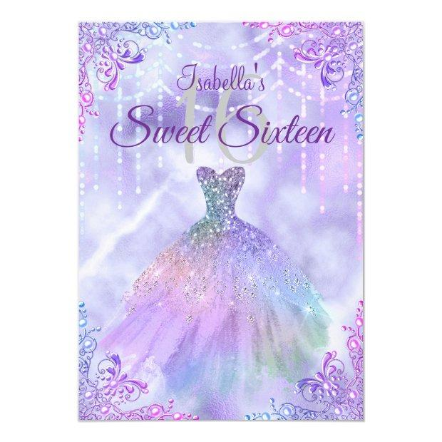 Sweet 16 Purple Lilac Silver Pearl Gown Invitation