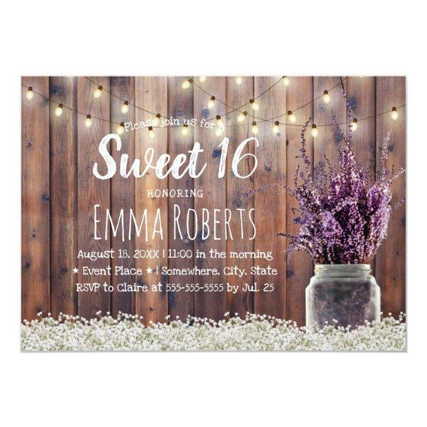 Sweet 16 Rustic Lavender Floral Jar String Lights Invitations