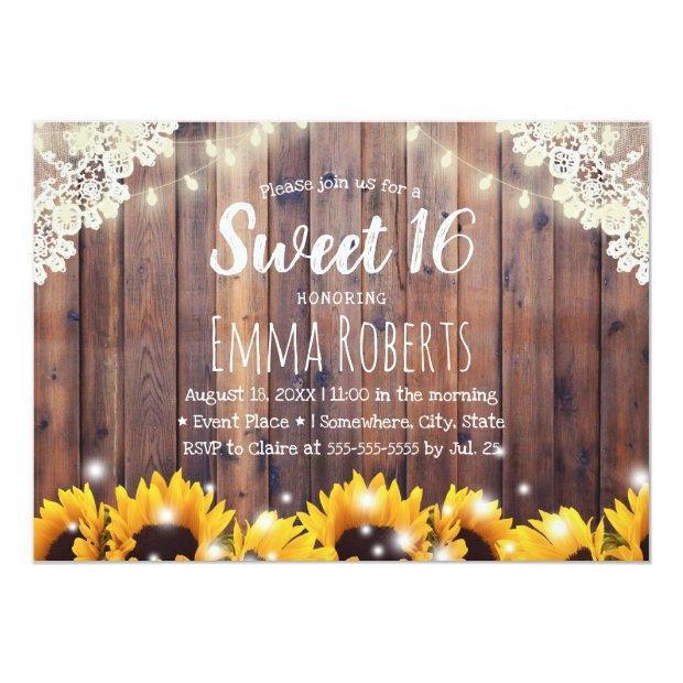 Sweet 16 Rustic Sunflowers & String Lights Invitations