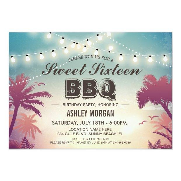 Sweet 16 Sixteen Bbq Party Summer String Lights Invitations