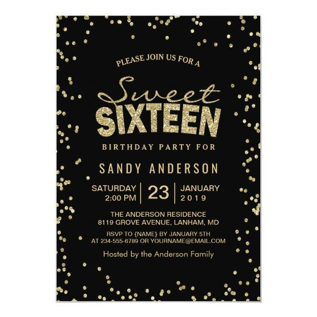 Sweet 16 Sixteen Party | Trendy Gold Glitter Dots