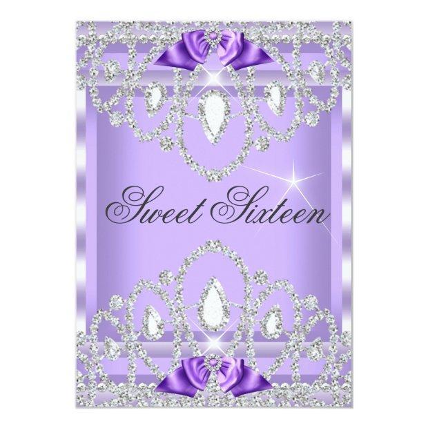 Sweet 16 Sixteen Purple Silver Diamond Party 3i Invitations
