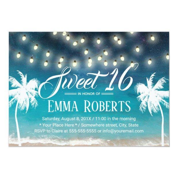 Sweet 16 String Lights Summer Beach Palm Trees Invitations