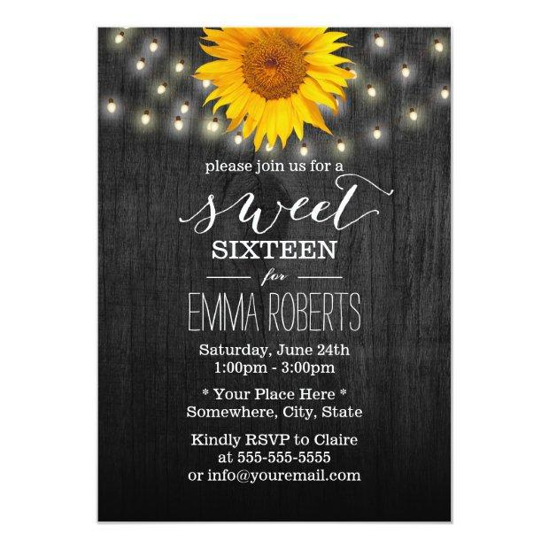 Sweet 16 Sunflower & String Lights Vintage Wood Invitations