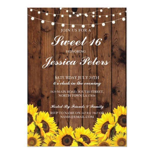 Sweet 16 Sunflower Wood Lights Rustic Invitation