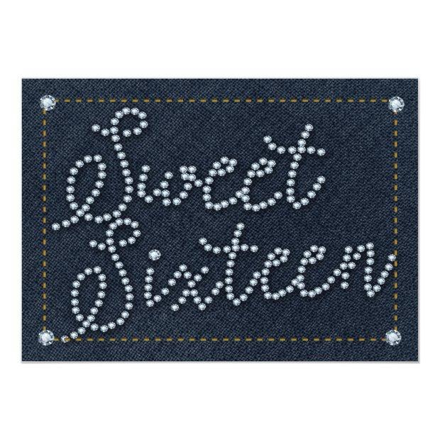 Sweet 16 Type Denim & Diamonds Party Invitation