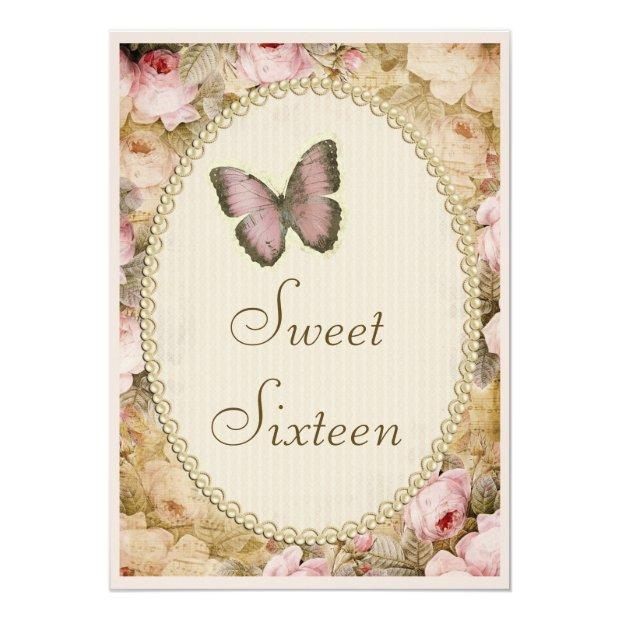 Sweet 16 Vintage Roses Butterfly & Music Notes Invitations
