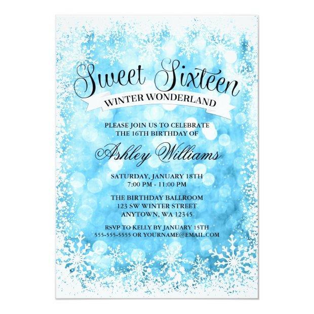 Sweet 16 Winter Wonderland Blue Glitter Lights Invitations