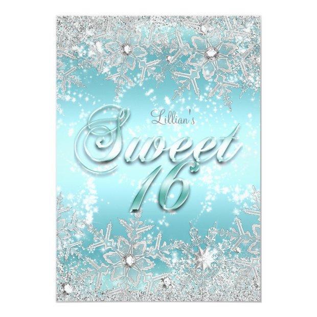 Sweet 16 Winter Wonderland Blue Teal Snowflake Invitations