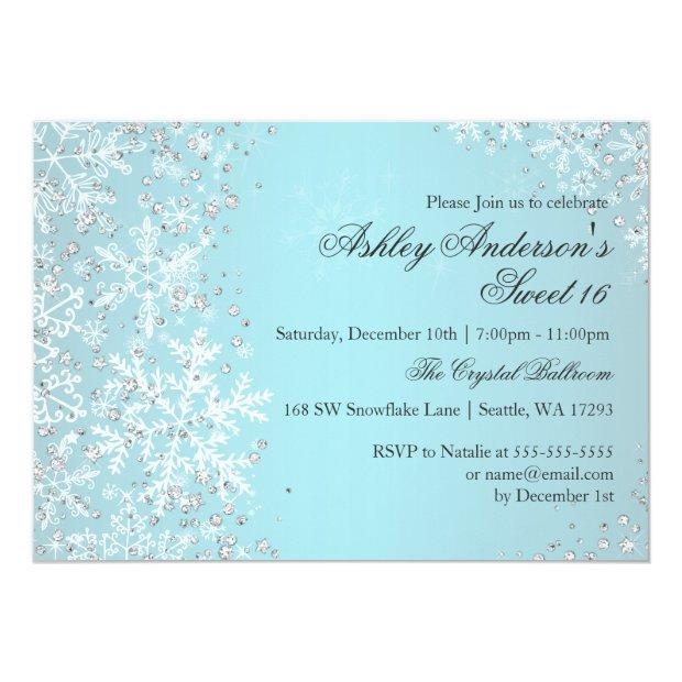 Sweet 16 Winter Wonderland Sparkle Snowflakes Invitations