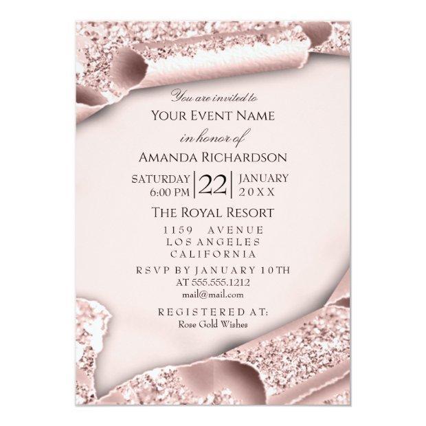 Sweet 16th Birthday Bridal Shower 3d Pink Rose Invitation