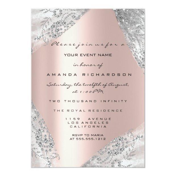 Sweet 16th Dress Spark Rose Silver Gray Diamond Invitation