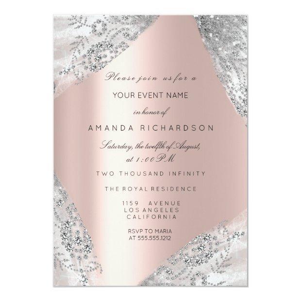 Sweet 16th Dress Spark Rose Silver Pink Diamond Invitation