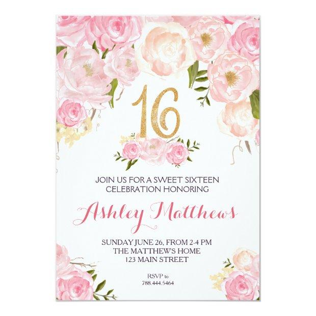 Sweet Sixteen 16 Birthday Floral Invitation, Invitations