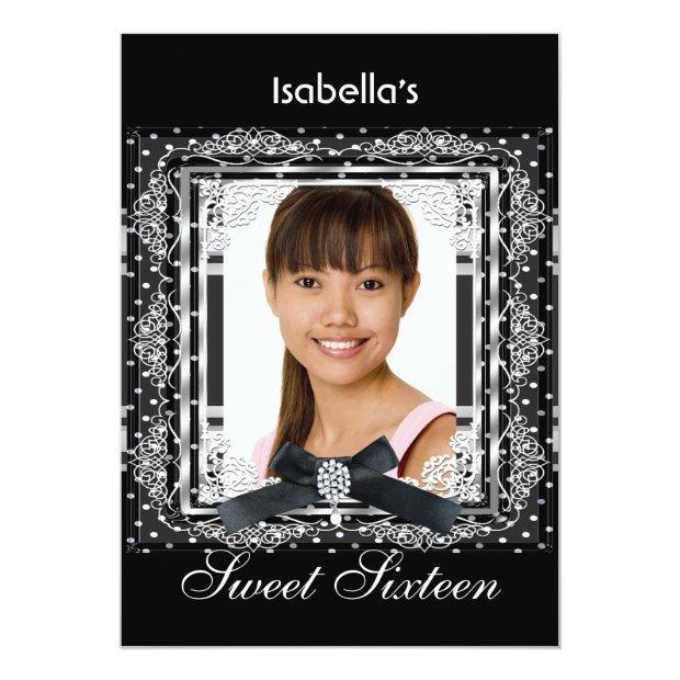 Sweet Sixteen 16 Black White Silver Birthday Party Invitations