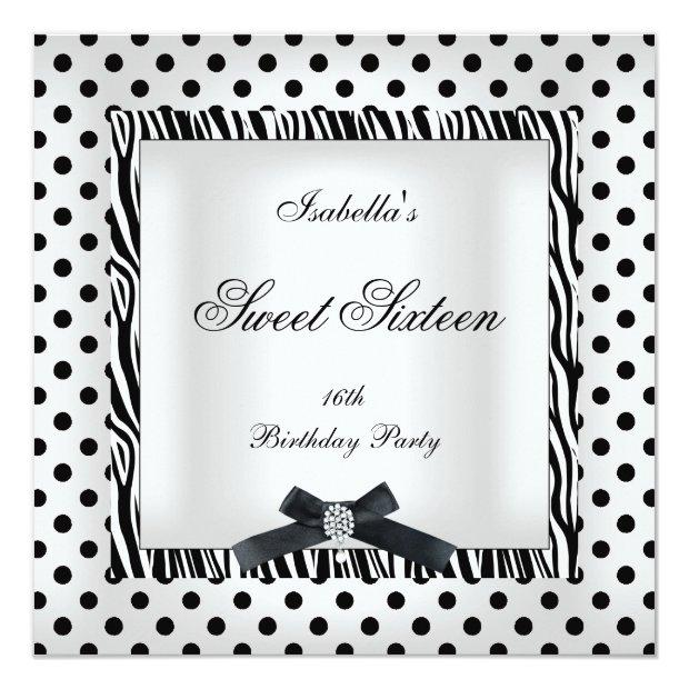 Sweet Sixteen 16 Party Black White Polka Dot Image