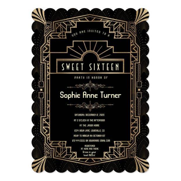 Sweet Sixteen   Art Deco Gold Great Gatsby 1920s Invitation