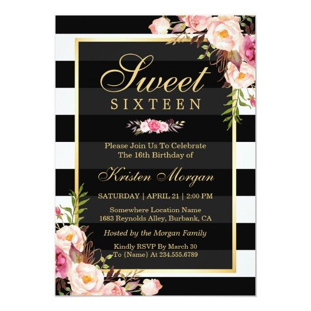 Sweet Sixteen Beautiful Floral Black White Stripes Invitations