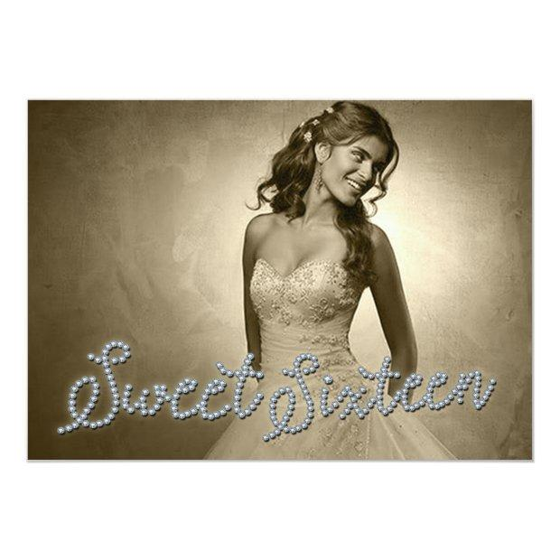 Sweet Sixteen Denim & Diamonds Photo Invitation