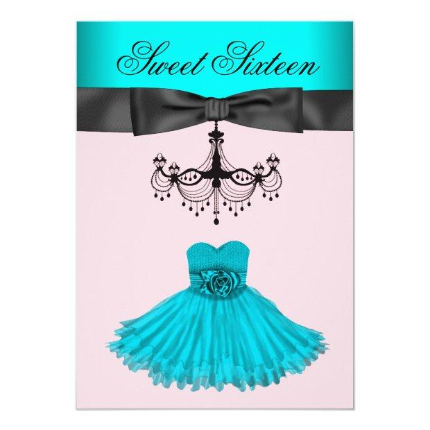 Teal Blue Chandelier Sweet Sixteen Birthday Party Invitation