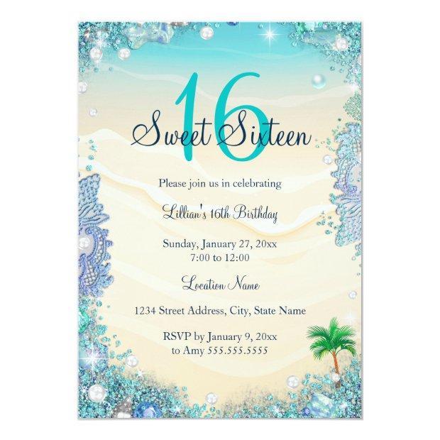 Teal Blue Water Ocean Sand Pearls Sweet 16 Party Invitations