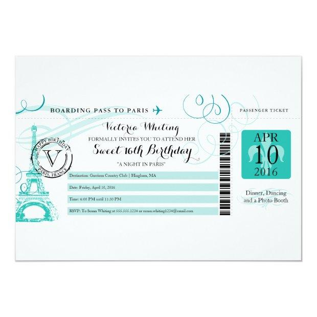 Teal Happy Birthday Boarding Pass To Paris France Invitations