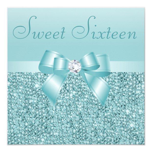 Teal Sequins, Bow & Diamond Sweet 16 Invitations