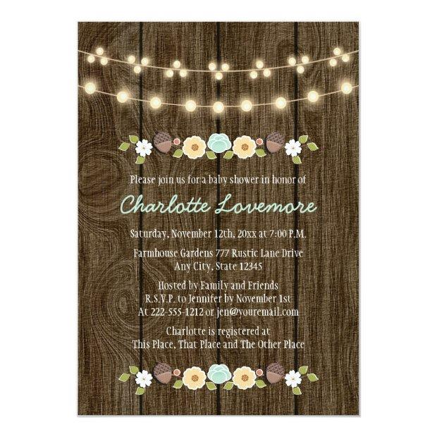 Teal String Of Lights Fall Rustic Boy Baby Shower Invitations