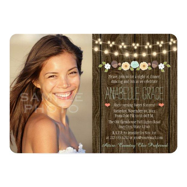 Teal String Of Lights Rustic Sweet Sixteen Invitations