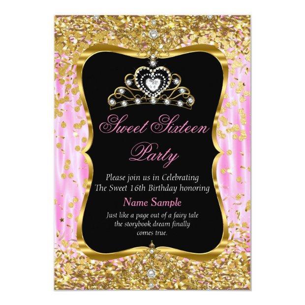 Tiara Princess Sweet 16 Pink Gold Black Invite