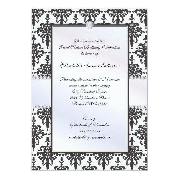 Timeless Black & White Damask Sweet 16 Party Invitation