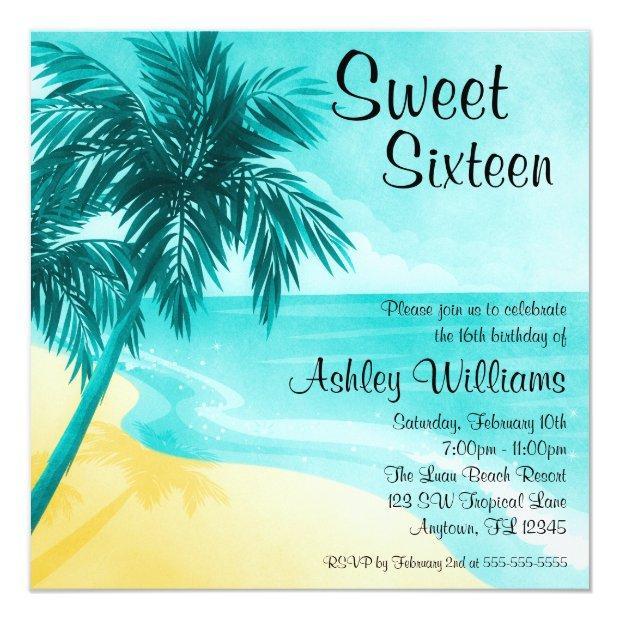 Tropical Beach Sweet 16 Birthday Party Invitations