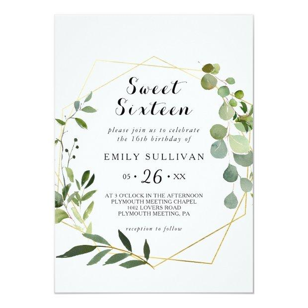 Tropical Green Leaves Sweet Sixteen Birthday Party Invitation