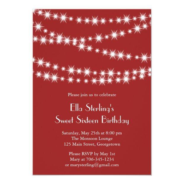 Twinkle Lights Birthday Invitation (red)