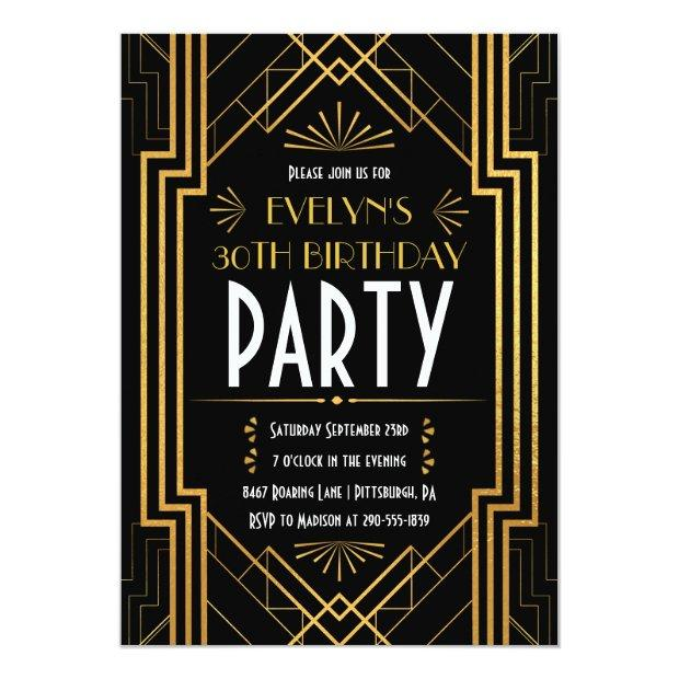 Vintage Art Deco Roaring 20s Great Gatsby Birthday Invitation