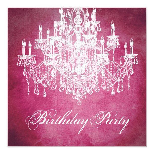 Vintage Chandelier Womans 40th Birthday Party Invitations