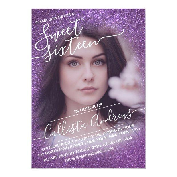 Violet Purple Sparkly Glitter Ombre Photo Sweet 16 Invitation