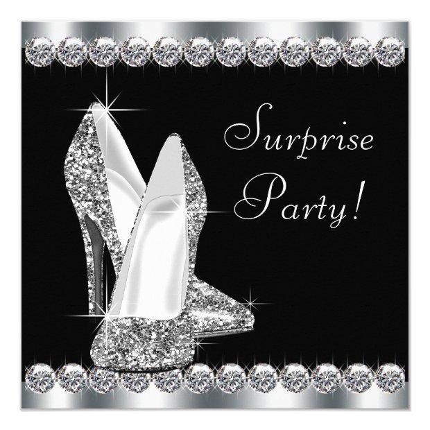 Womans Elegant Black Surprise Birthday Party Invitations