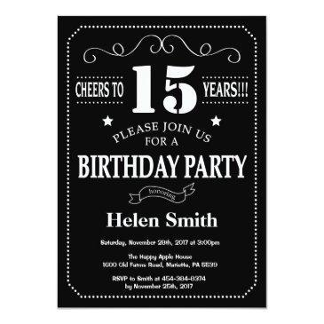 15th birthday invitation chalkboard