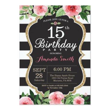 15th birthday invitations women. floral gold black