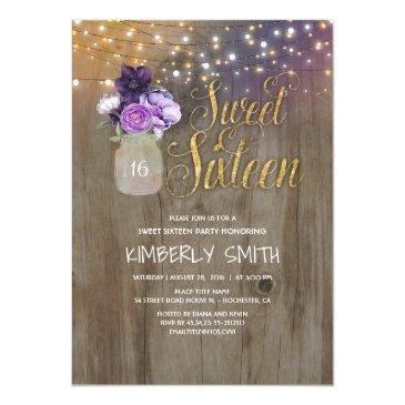 16 birthday party - sweet sixteen mason jar purple invitation