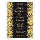 16th,birthday 16th,gatsby style,ticket,black gold invitation