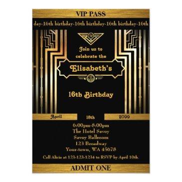 16th,birthday 16th,gatsby style,ticket,black gold invitation