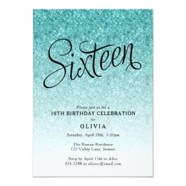 Small 16th Birthday Blue Ombre Glitter Invitations Front View