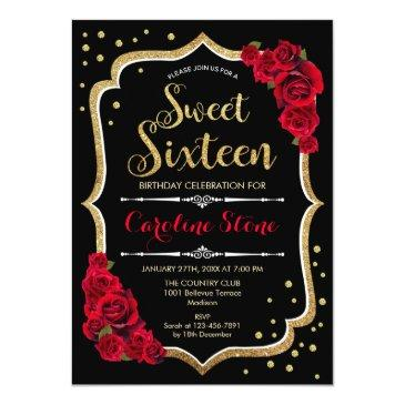 Small 16th Birthday - Gold Black Red Roses Invitation Front View