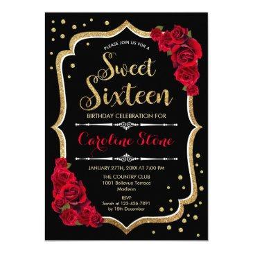 16th birthday - gold black red roses invitation