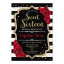 16th birthday - gold black white stripes red roses invitation