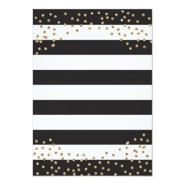 Small 16th Birthday Invitation. Black And Gold Glitter Invitations Back View