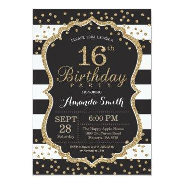 16th birthday invitation. black and gold glitter invitation